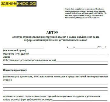 Форма акта наблюдения / мониторинга трещин