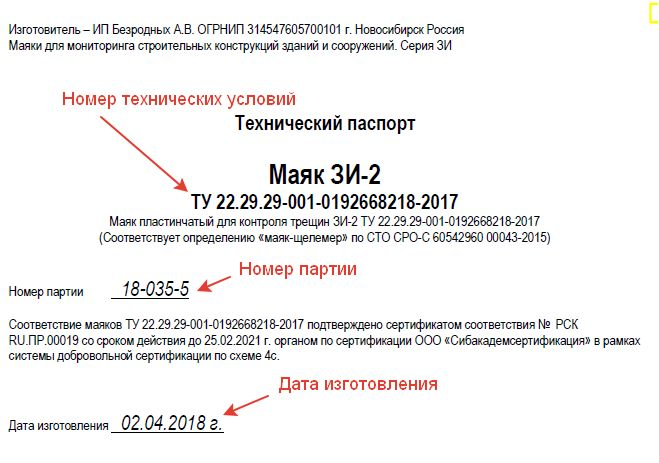 Технический паспорт маяки